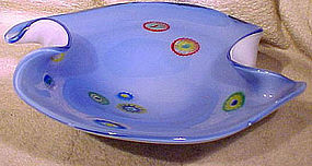 MURANO 1950s BLUE CASED GLASS BOWL with PAPERWEIGHT CANING