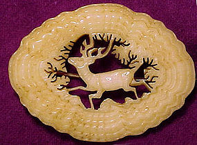 Detailed CARVED BONE STAG BROOCH c1860-80