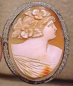 14K WHITE GOLD FILIGREE SHELL CAMEO c1915-20