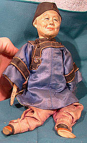 CHINESE COMPOSITION DOLL with SILK CLOTHES c1900-20