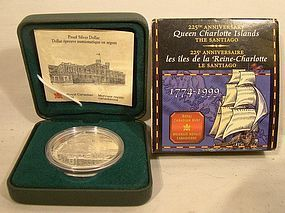 CANADA 1999 PROOF QUEEN CHARLOTTE ISLANDS SILVER COIN