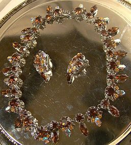 AUSTRIA Cinnamon Amber Aurora RS NECKLACE & EARRINGS