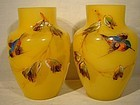 Pair Victorian Yellow Cased Glass Vases with Enamel Birds Decoration