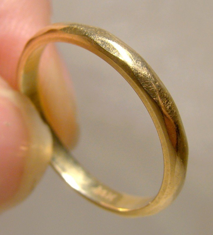 14K Yellow Gold Wedding Band 1930s 1940 Faceted Size 7-1/8