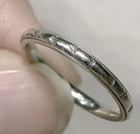 19K White Gold Wedding Band Art Deco 19 K Engraved Band 1920s 5-1/2