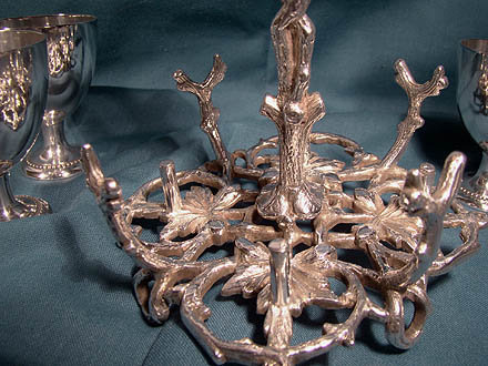 Antique Victorian Silver Plated Naturalism Branch Form Egg Stand 1871
