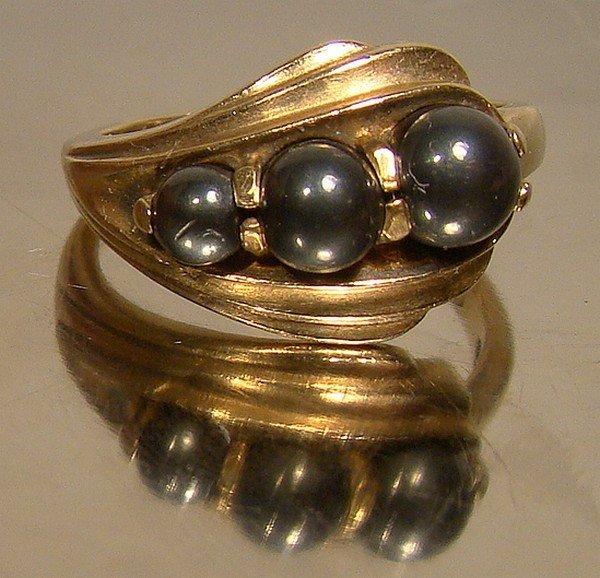 10K Black Alaskan Diamond Hematite Black Pearls Ring c1950s
