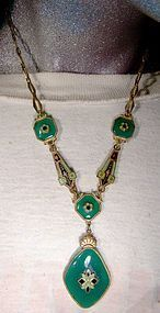 Czech Art Deco Green Glass Necklace 1920s Green Black Enamel