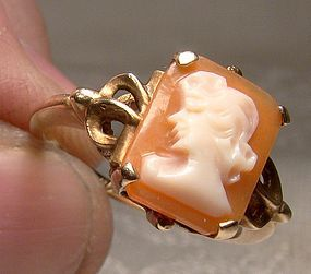 10K Yellow Gold Art Deco Cameo Ring 1930s - Size 5