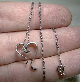 10K White Gold Open Heart Diamonds Pendant Necklace 1970s