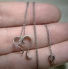 10K White Gold Open Heart Diamonds Pendant Necklace 1970s