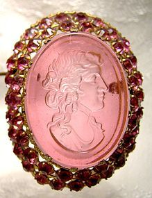 Czech Pink Intaglio Cameo Gilt Brass Rhinestone Glass Pin Brooch 1920s