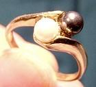 10K Cultured and Black Alaskan Diamond Hematite Black Pearls Ring 1960