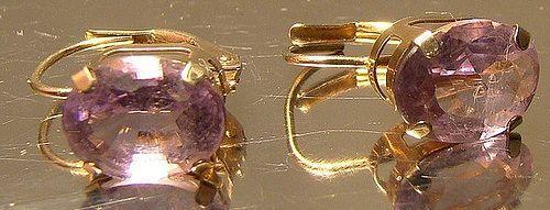 10K Yellow Gold Amethyst Earrings 1960s-70s - Leverback Pierced