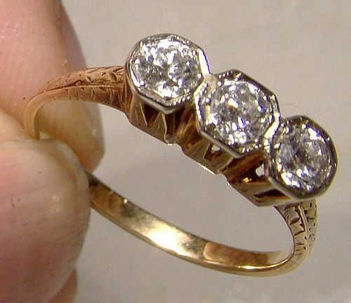 Edwardian 14K Three Diamonds Row Engagement Ring 1910 1915 Appraisal