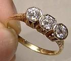 Edwardian 14K Three Diamonds Row Engagement Ring 1910 1915 Appraisal