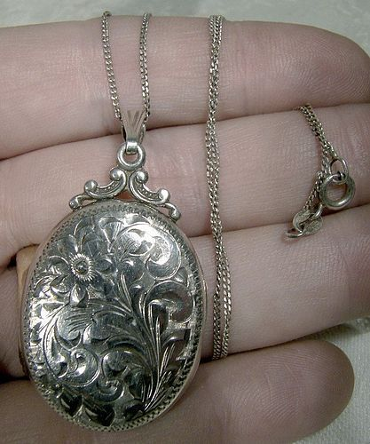 Birks Sterling Engraved Sterling Silver Photo Locket & Chain Necklace