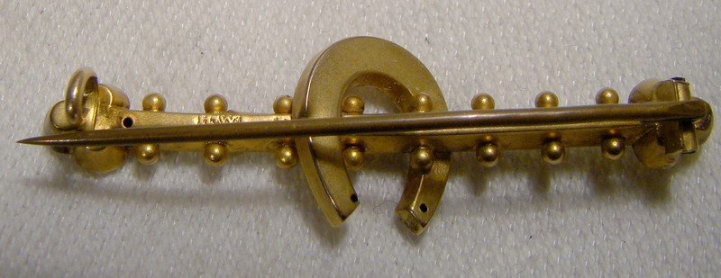 Antique Victorian 9k Horseshoe Seed Pearls Bar Brooch or Pin 1886