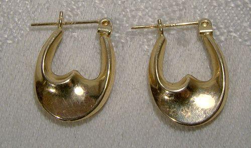 14K Hoop Earrings 1980s 14 K Pierced
