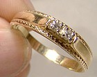 14K Diamonds Ring or Band 1970s Wedding Band Size 8-1/2