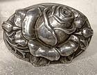 Antique Arts & Crafts 830 Silver Relief Rose Skønvirke Brooch 1900