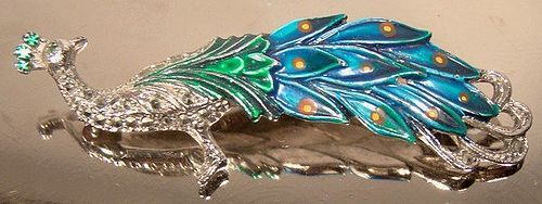 BJL Marcasites Blue Green ENAMEL PEACOCK Brooch Pin 1950s 1960 Bird