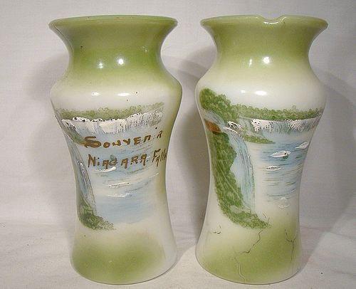 Antique Niagara Falls Souvenir Milk Glass Spills or Mantle Vases