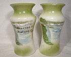 Antique Niagara Falls Souvenir Milk Glass Spills or Mantle Vases