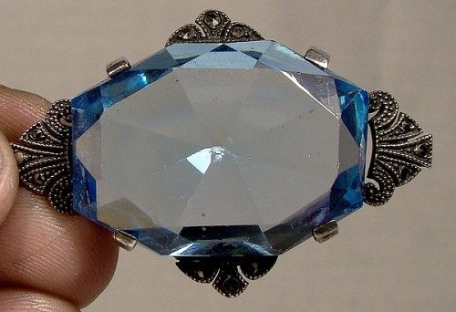 Coro Sterling Silver Marcasites Art Deco Blue Crystal Brooch 1920s