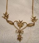 Edwardian 10K 14K Birds and Heart Seed Pearls Lavaliere Necklace 1900