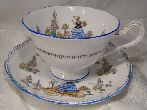 Royal Albert Crown China Dainty Dinah 7694A Blue Trim Cup and Saucer