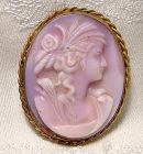 Molded Pink Glass Cameo Gilt Brass Pin 1910