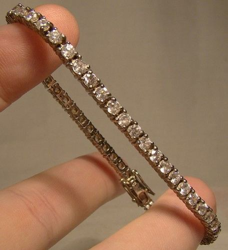 925 Sterling Silver Rhinestone Single Row Tennis Bracelet 1970s
