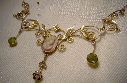 14K Edwardian Shell Cameo Peridot and Seed Pearls Lavaliere Necklace