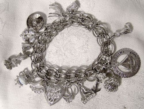 Large Round Double Link Twist Sterling Silver Charm Bracelet 17 Charms