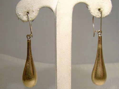 18K Yellow Gold Dangle Drop Earrings