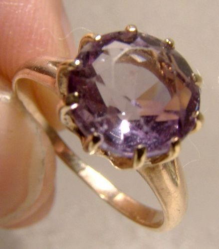 Edwardian 12K Rose Gold Amethyst Ring 1910 - Size 5-1/2