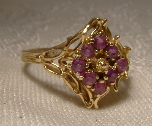 10K Yellow Gold Rubies Ruby Cluster Openwork Ring 1960s - Size 7-1/2