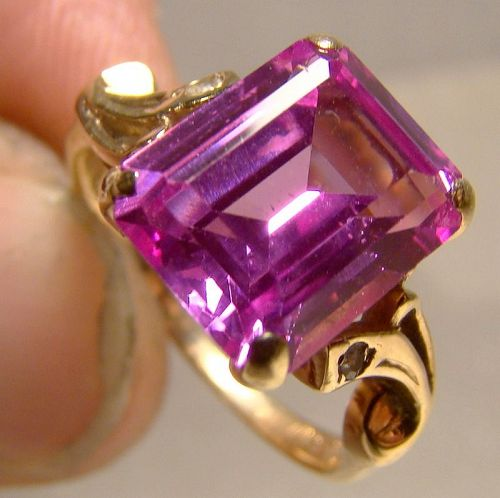 10K Yellow Gold Pink Topaz and Spinels Ring 1950s - Size 5-1/4