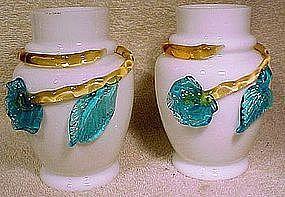 Pair VICTORIAN MILK GLASS APPLIED FLOWERS MANTLE VASES
