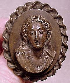 GREEK BEAUTY Early VULCANITE CAMEO PIN c1870