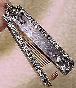 Fine Repousse STERLING Celluloid CHATELAINE COMB 1890s