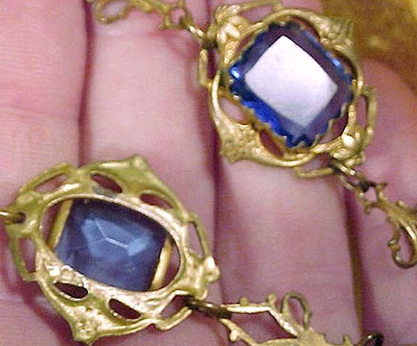 Art Nouveau GILT BRASS & BLUE CRYSTAL NECKLACE 1910-20