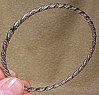 SOLID STERLING TWIST ROPE BRAIDED SILVER BANGLE