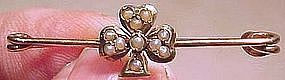 14K SEED PEARL SHAMROCK Straight Collar PIN TIE PIN 1900