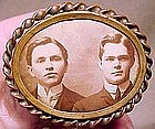 Fine VICTORIAN BRASS PHOTO BROOCH c1890