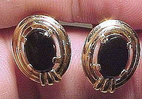 14K ONYX SCREW BACK EARRINGS c1960