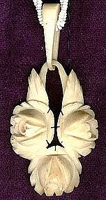 ARTS & CRAFTS CARVED BONE ROSES & GLASS BEAD NECKLACE