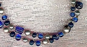 BLUE GLASS & FAUX PEARL Long NECKLACE c1960s