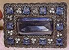 Edwardian BLUE CRYSTAL ENAMEL FILIGREE SASH PIN